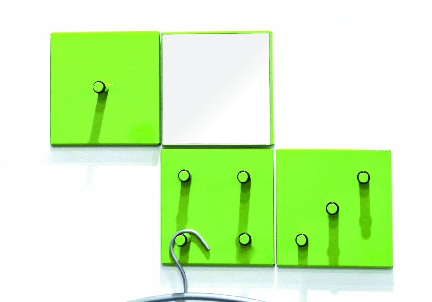 Nástěnný věšák Jordan, set 4 kusů, 15 cm, zelená