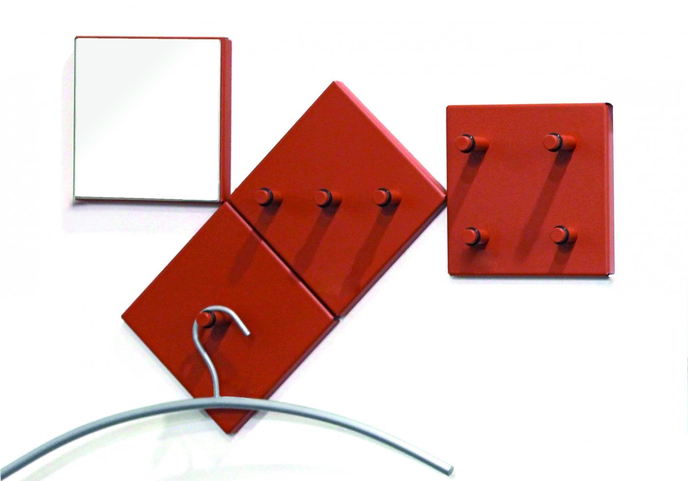 Nástěnný věšák Jordon, set 4 kusů, 15 cm, červená