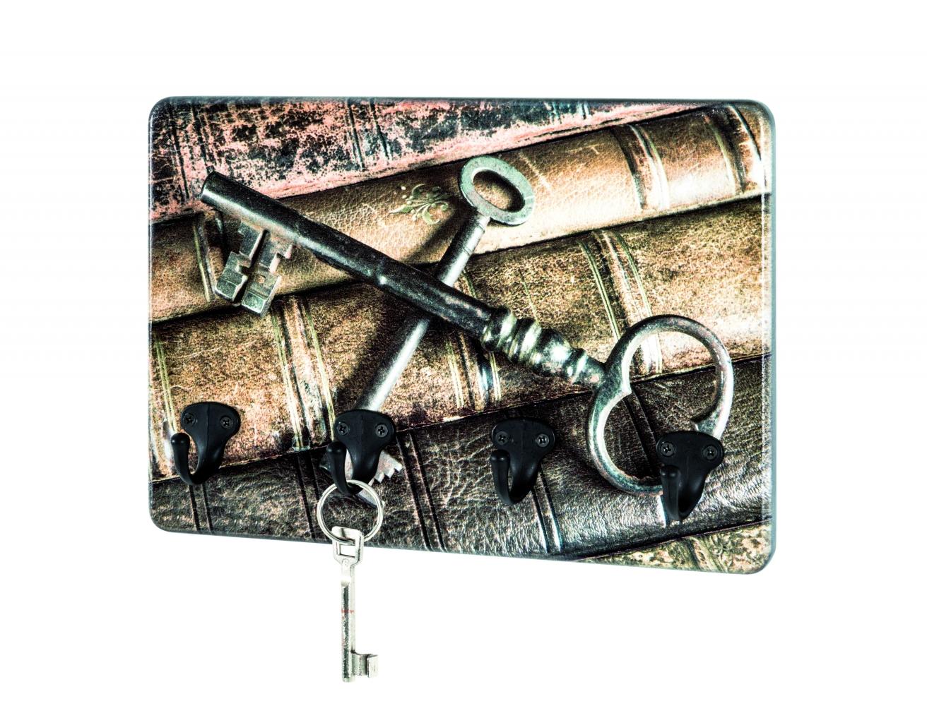 Nástěnný věšák Keys, 30 cm, hnědá