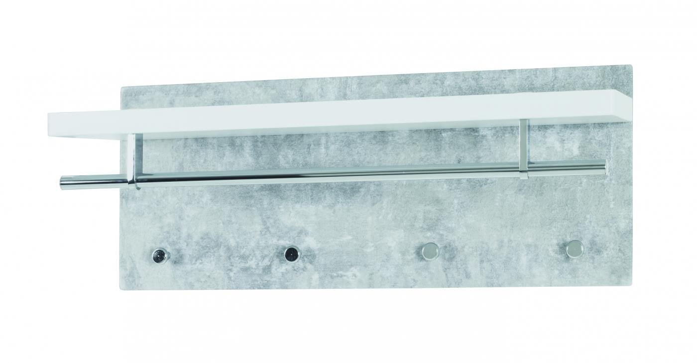 Nástěnný věšák Kylenia, 75 cm, beton / bílá