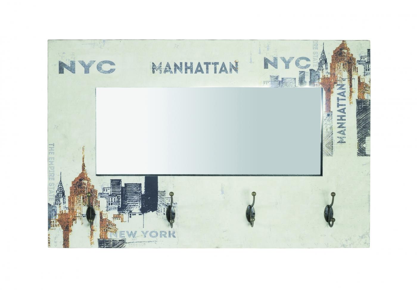 Nástěnný věšák New York, 52 cm, krémová