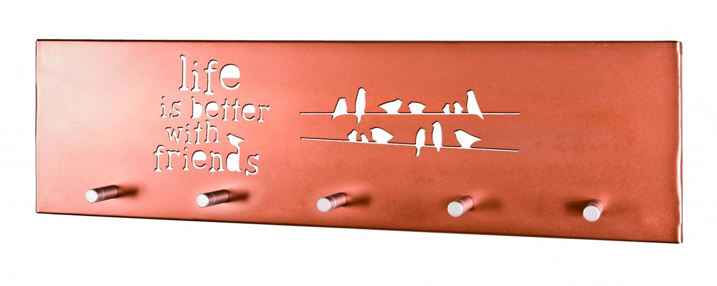 Nástěnný věšák Rain, 60 cm, měděná