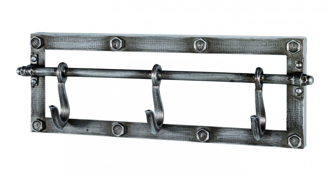 Nástěnný věšák s 3 háčky Trident, 15 cm, antracitová