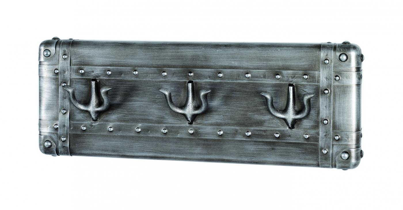 Nástěnný věšák s 3 háčky Trident, 22 cm, antracitová