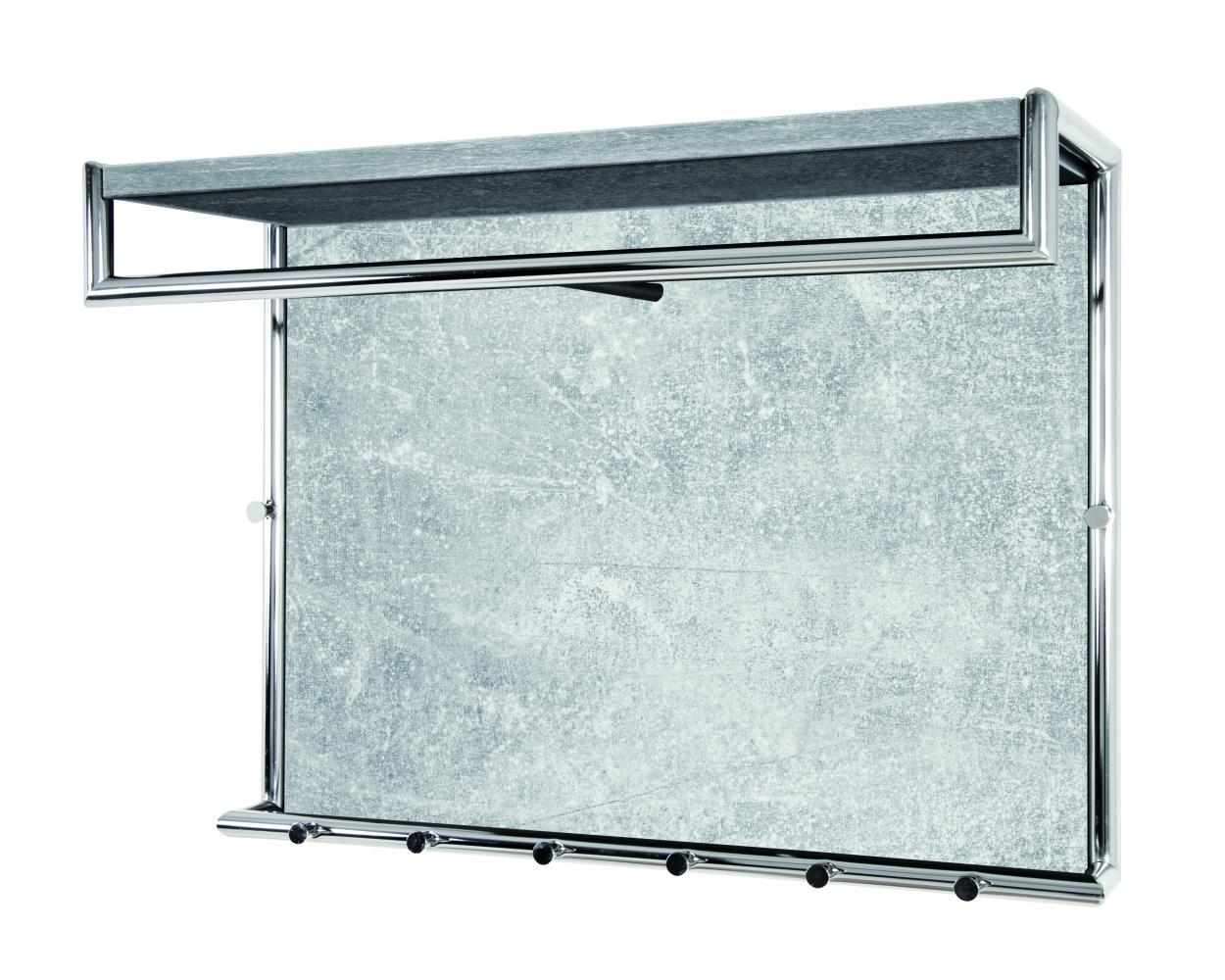 Nástěnný věšák s háčky Arnie, 60 cm, chrom/beton