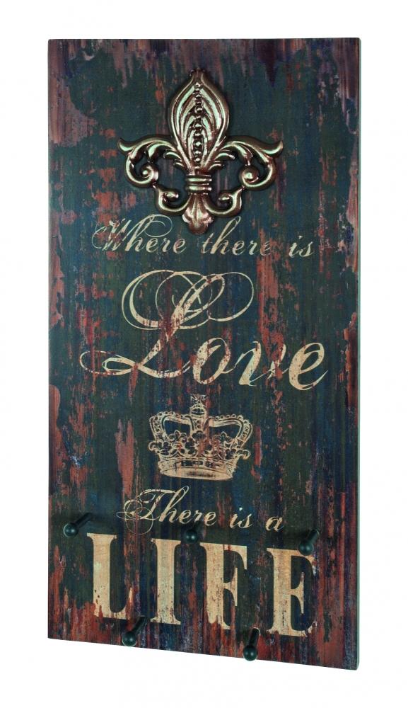 Nástěnný věšák se 3 háčky Love the life, 30 cm