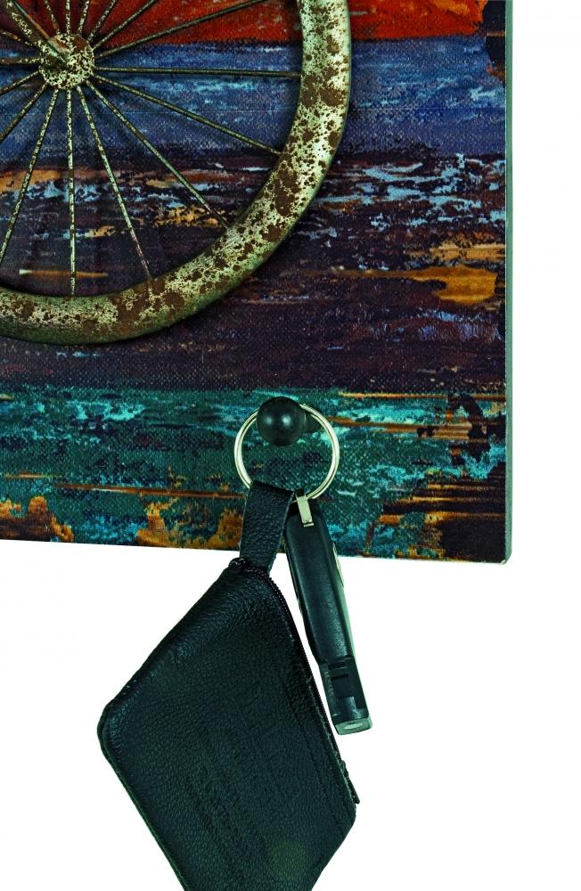 Nástěnný věšák se 4 háčky Wheel, 53 cm