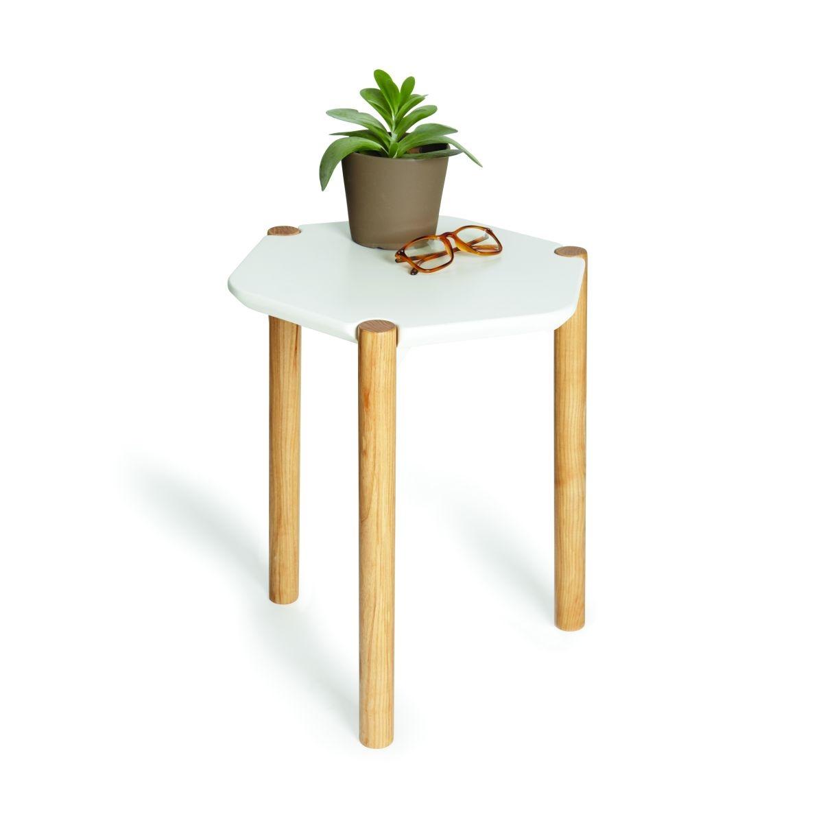 Noční / odkládací stolek Alex, 41 cm, dřevo/bílá