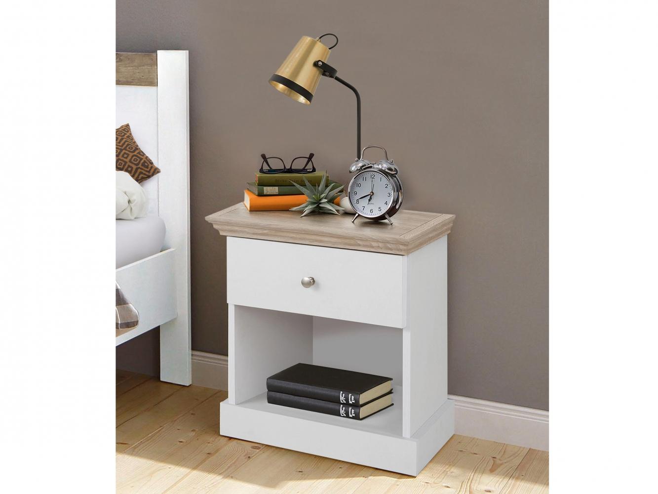Noční stolek Brusel, 45 cm, bílá