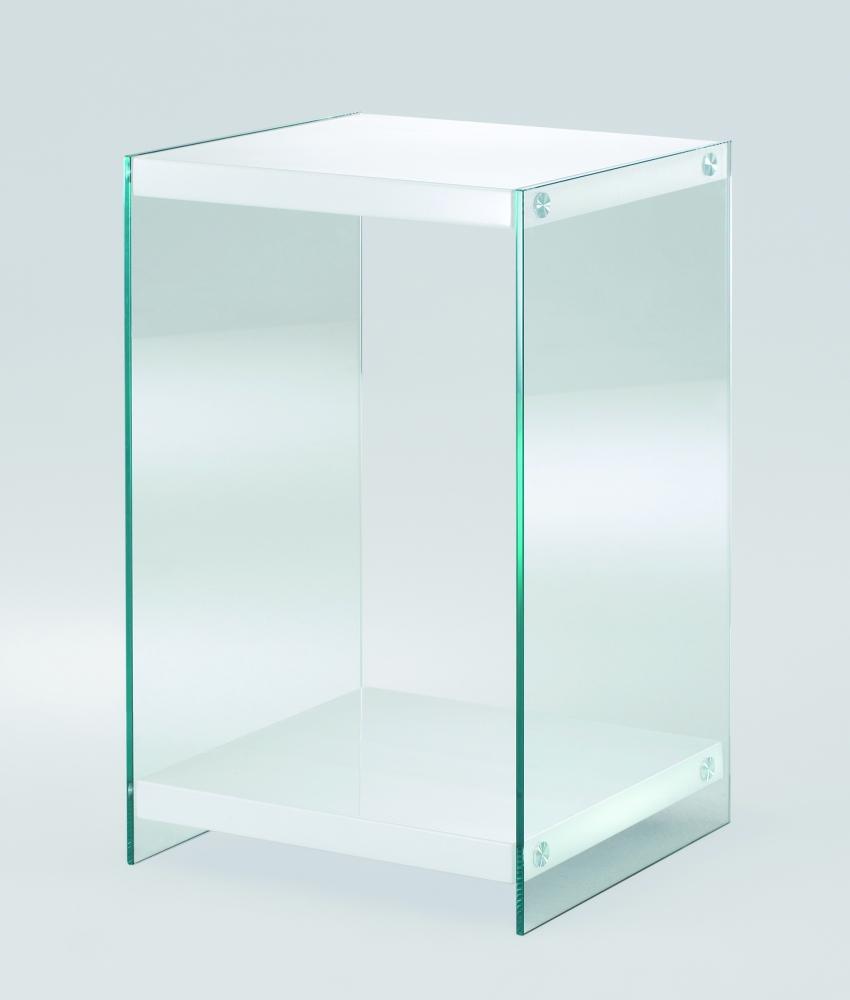 Noční stolek Gero, 55 cm, bílá / čirá