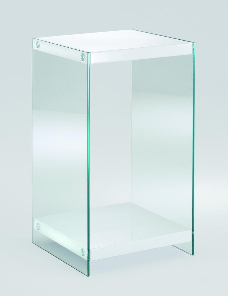 Noční stolek Gero, 74 cm, bílá / čirá