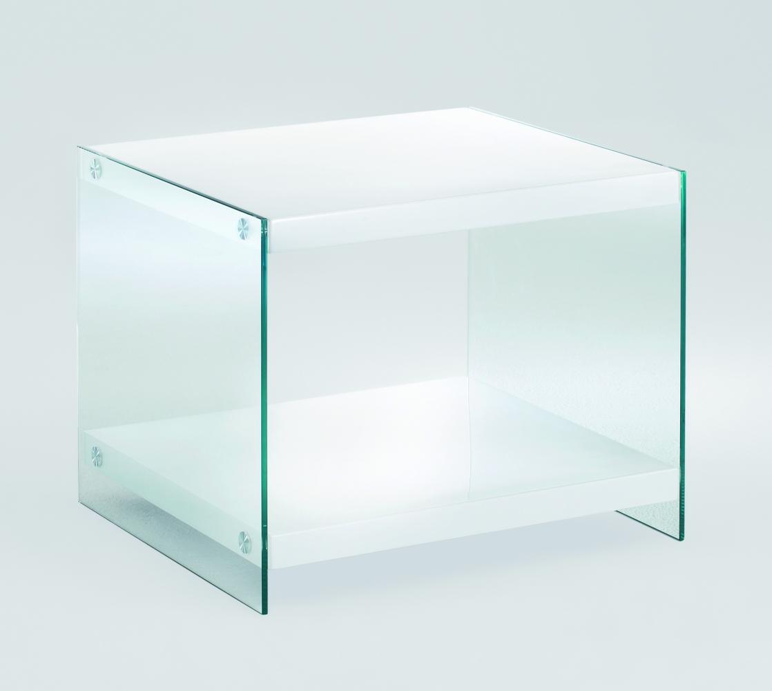 Noční stolek Gero I., 45 cm, bílá / čirá