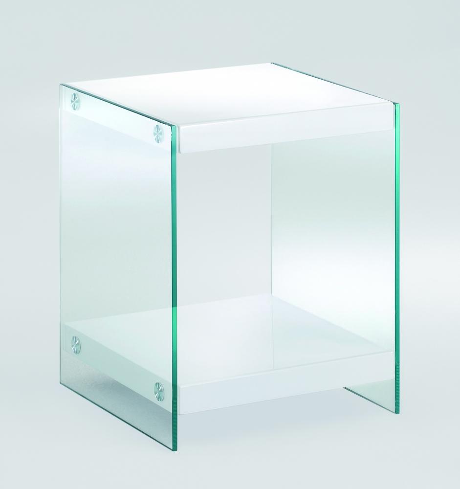 Noční stolek Gero II., 45 cm, bílá / čirá