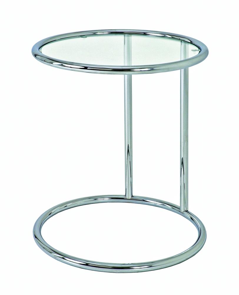 Noční stolek Karin, 55 cm, stříbrná / čirá
