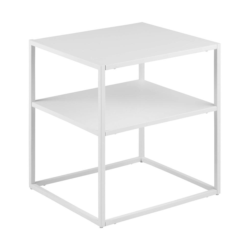 Noční stolek kovový Lyfte, 45 cm, bílá