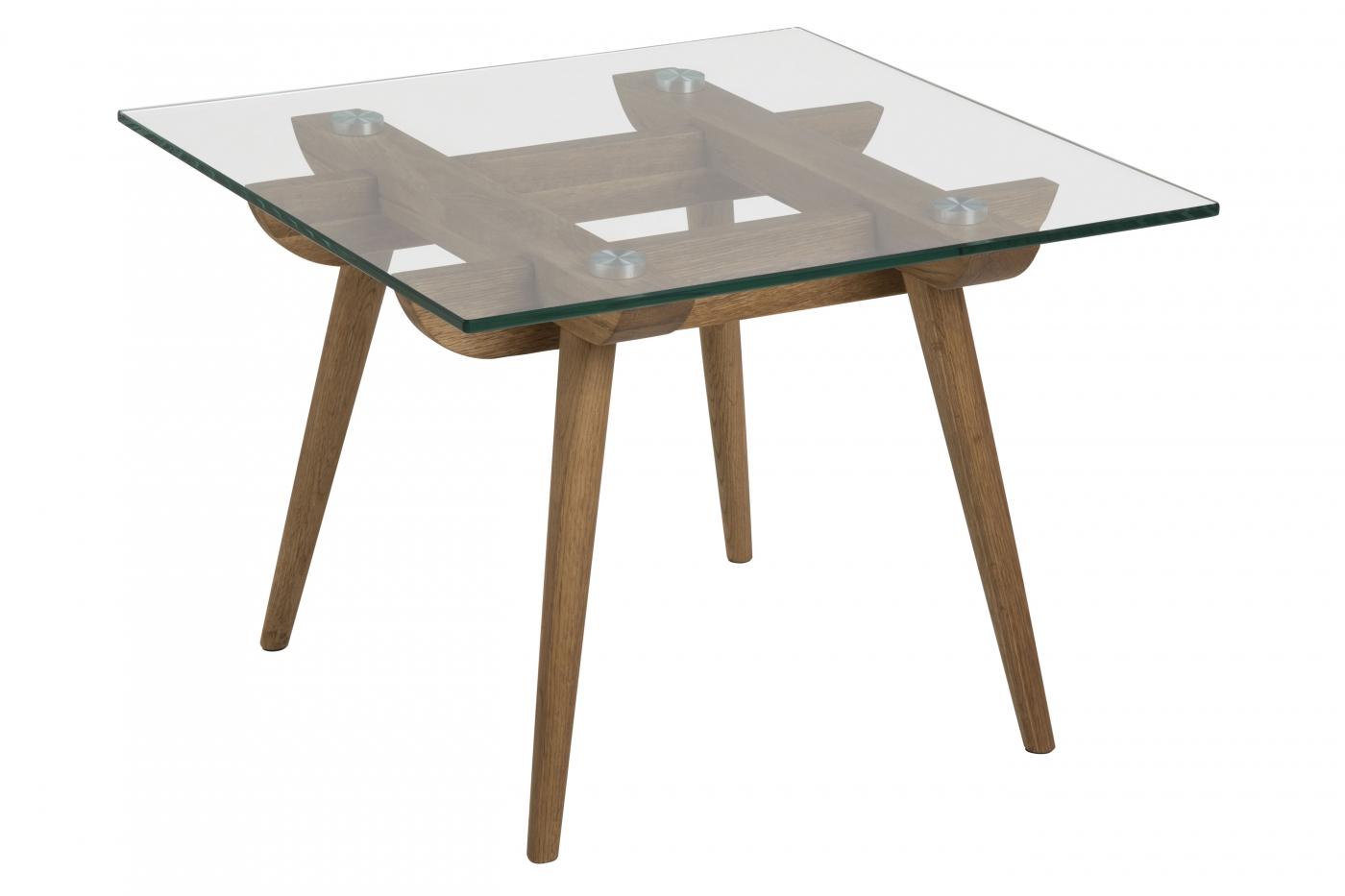 Noční stolek Odo, 43 cm, čirá / dub