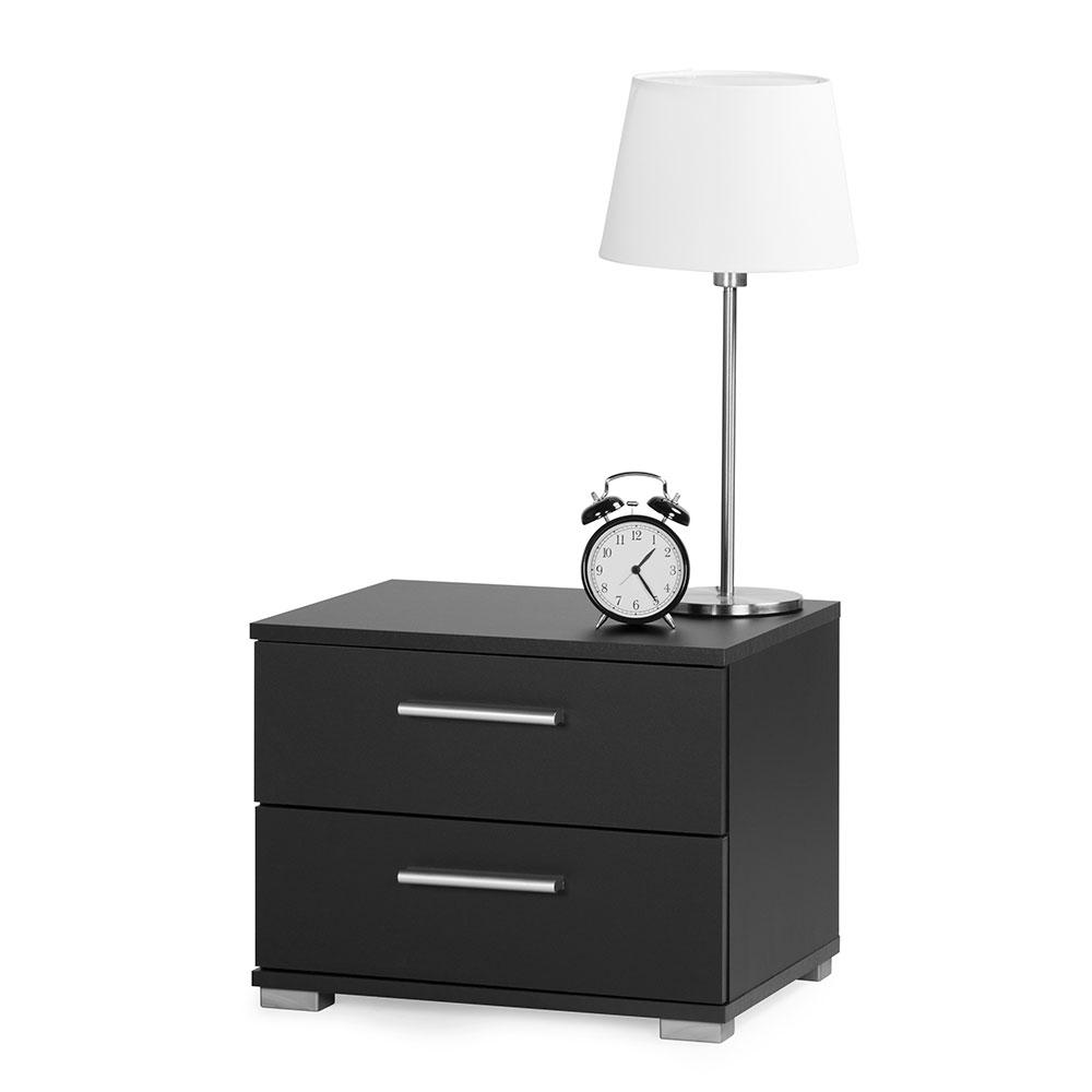 Noční stolek s 2 zásuvkami Nora, 35 cm, černá