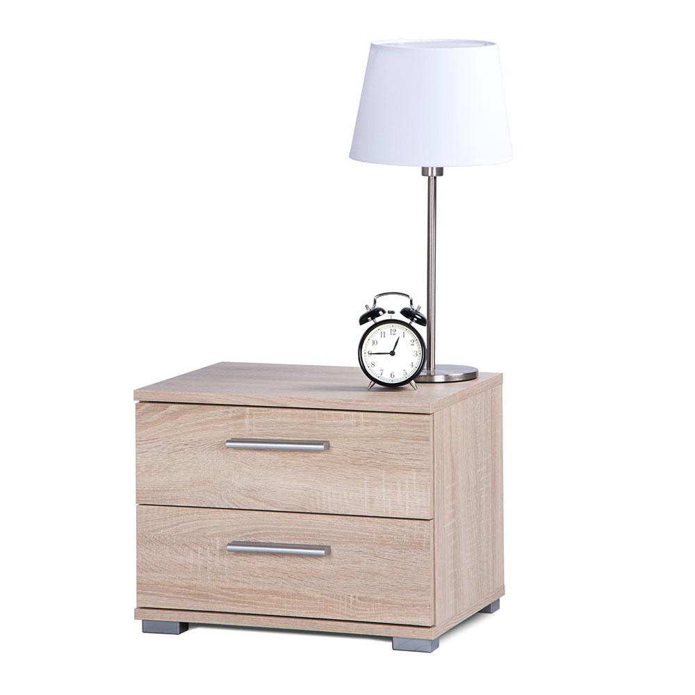 Noční stolek s 2 zásuvkami Nora, 35 cm, dub