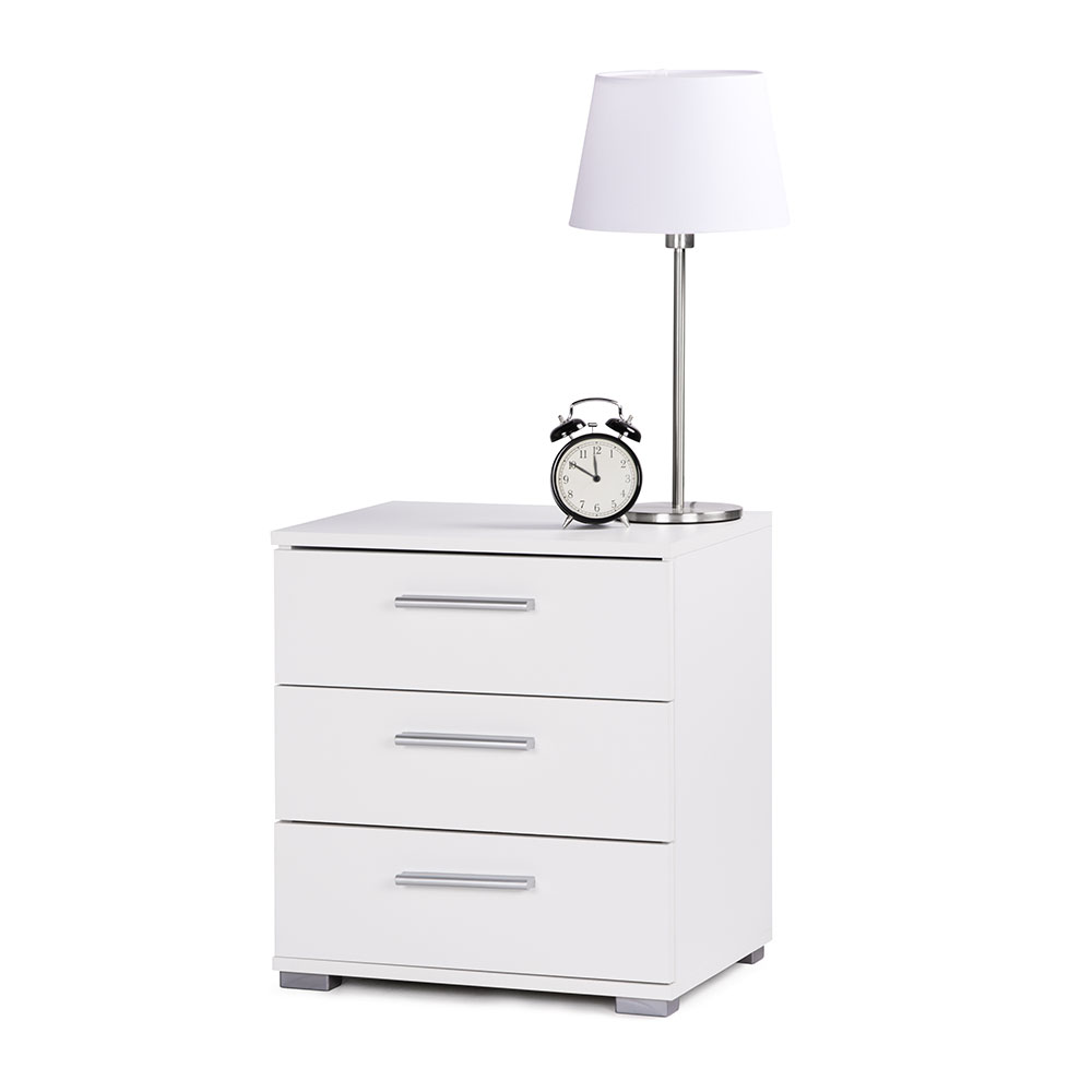 Noční stolek s 3 zásuvkami Nora, 50 cm, bílá