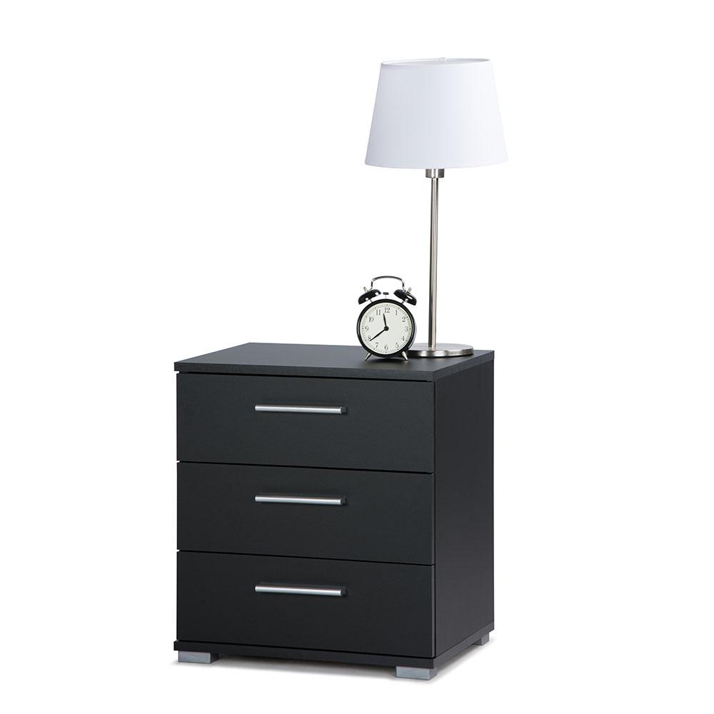 Noční stolek s 3 zásuvkami Nora, 50 cm, černá