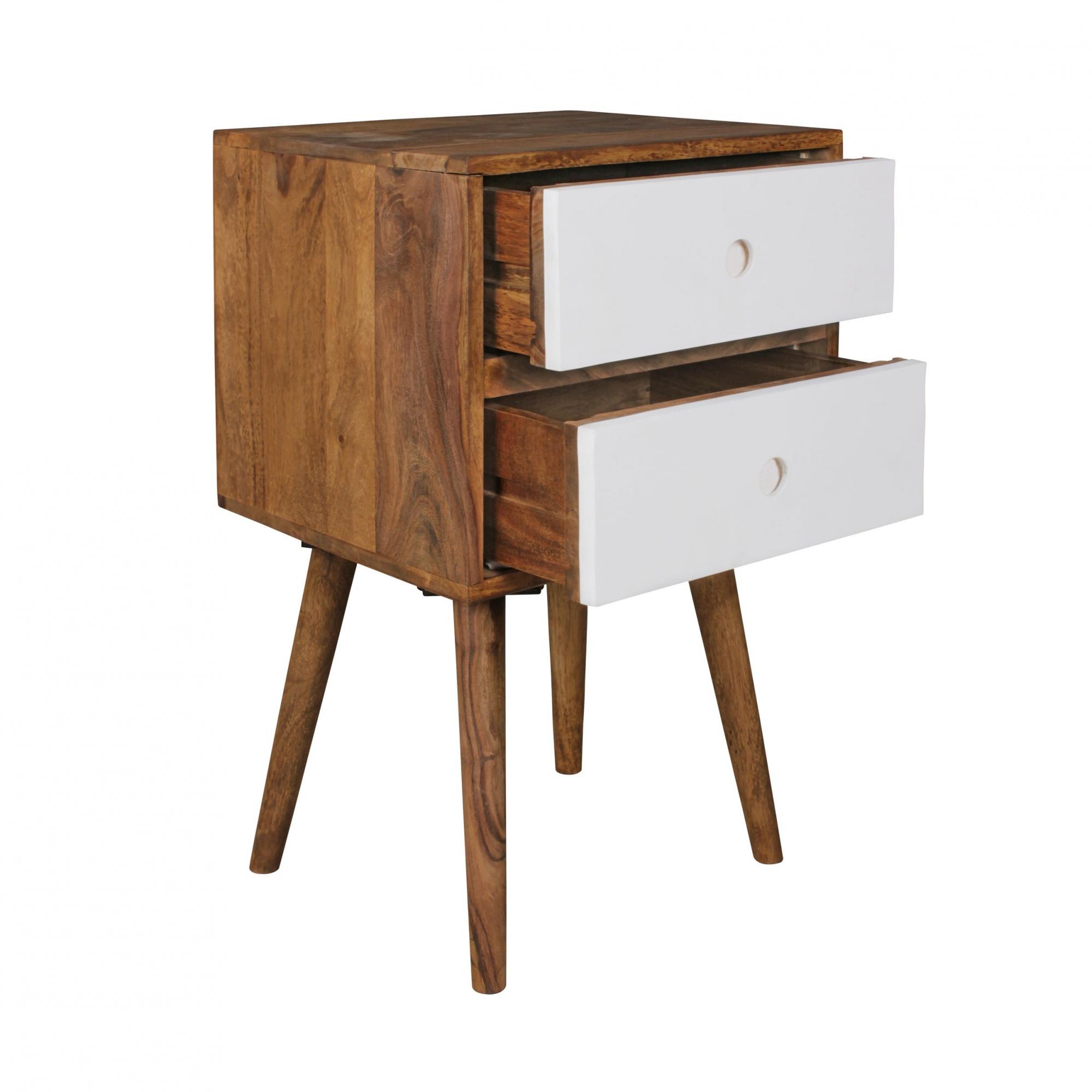 Noční stolek se zásuvkami Repa, 67 cm, masiv Sheesham, bílá