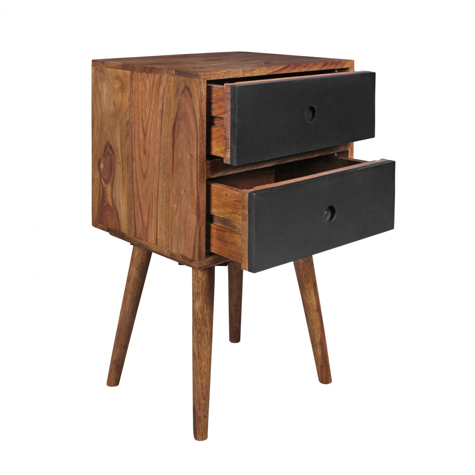 Noční stolek se zásuvkami Repa, 67 cm, masiv Sheesham, černá