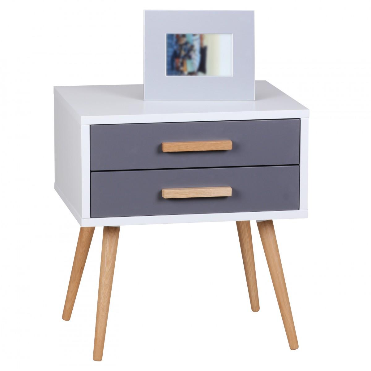 Noční stolek se zásuvkami Scanio, 50 cm