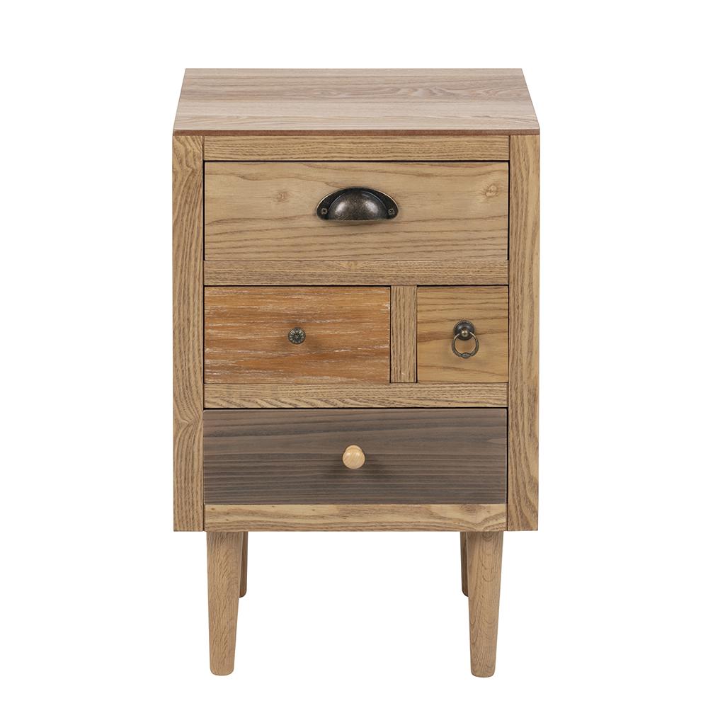 Noční stolek se zásuvkami Thess, 59 cm, hnědá