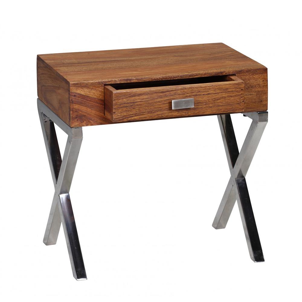 Noční stolek se zásuvkou Guna, 45 cm, masiv Sheesham