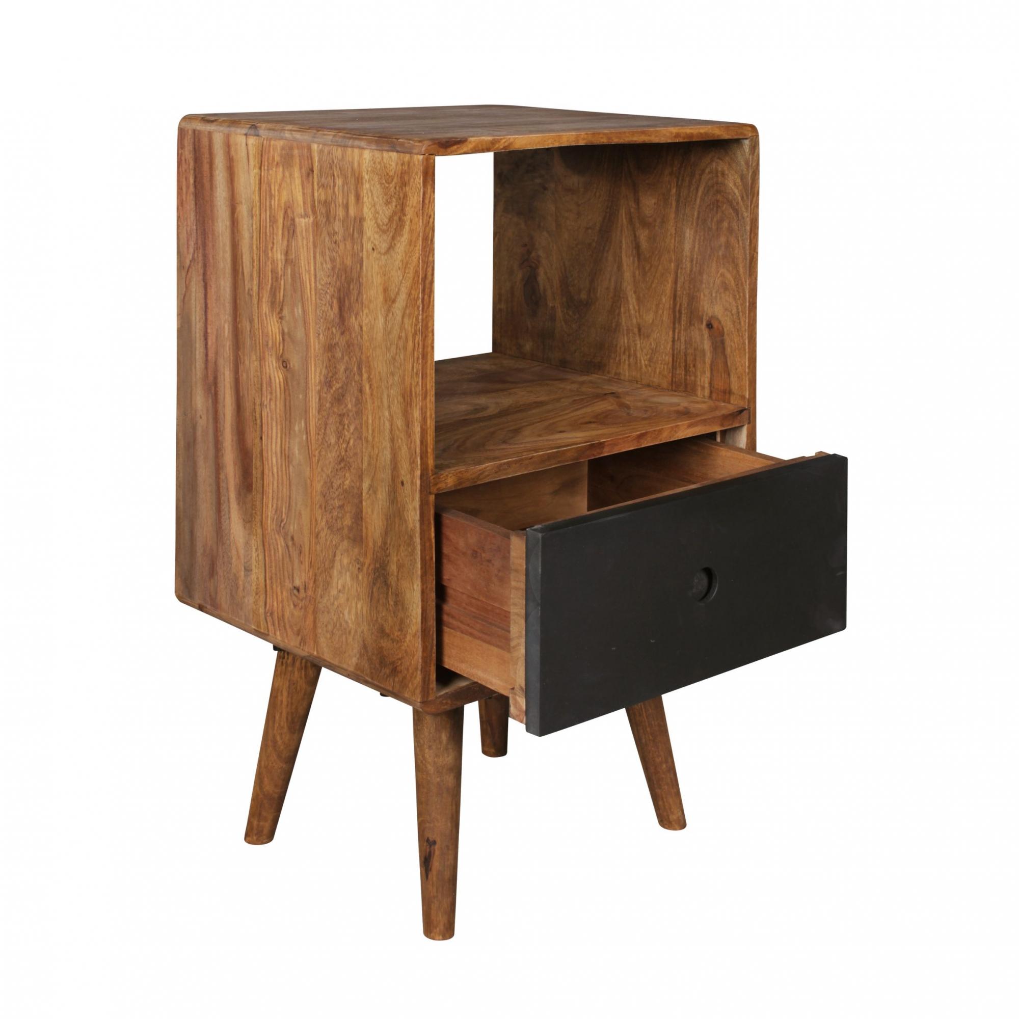 Noční stolek se zásuvkou Repa, 70 cm, masiv Sheesham, černá