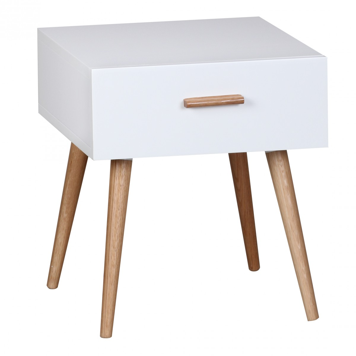 Noční stolek se zásuvkou Scanio, 46 cm, bílá/dub