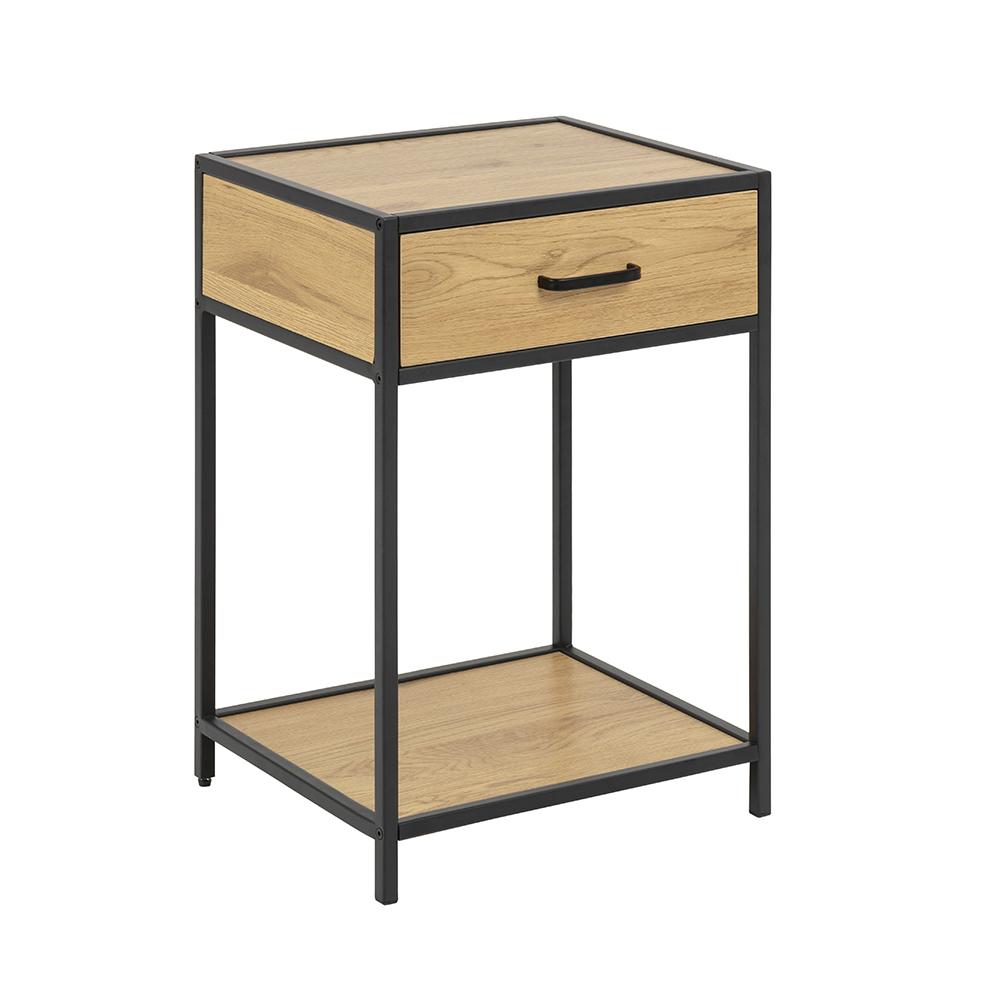 Noční stolek se zásuvkou Seashell, 63 cm, dub
