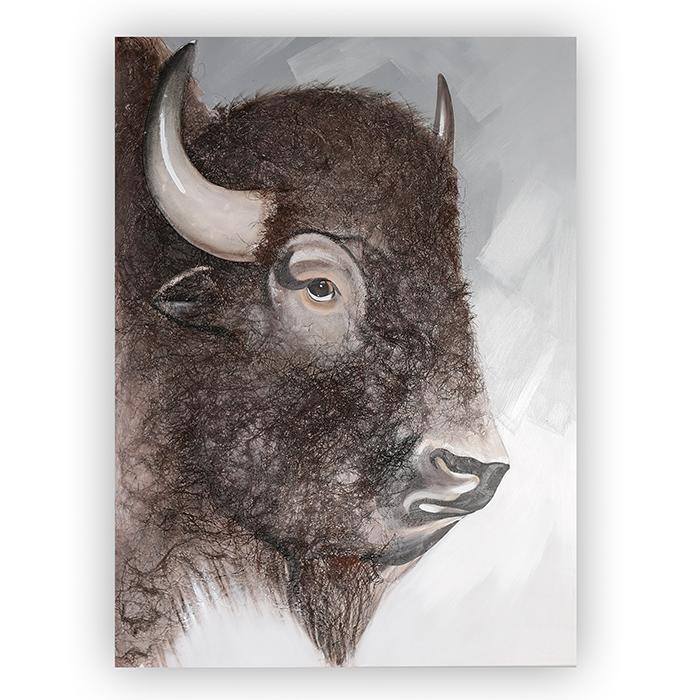 Obraz Buffalo se sisalovou srstí 120 cm, olej na plátně