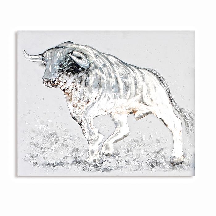 Obraz Býk s hliníkovou aplikací, 80x100 cm, olej na plátně