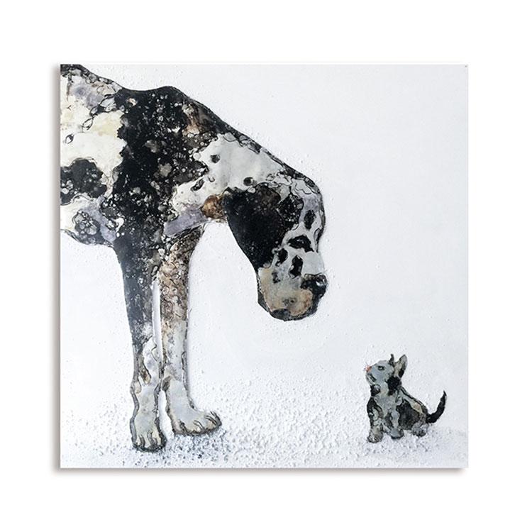 Obraz Cat & Dog 80x80 cm, olej na plátně