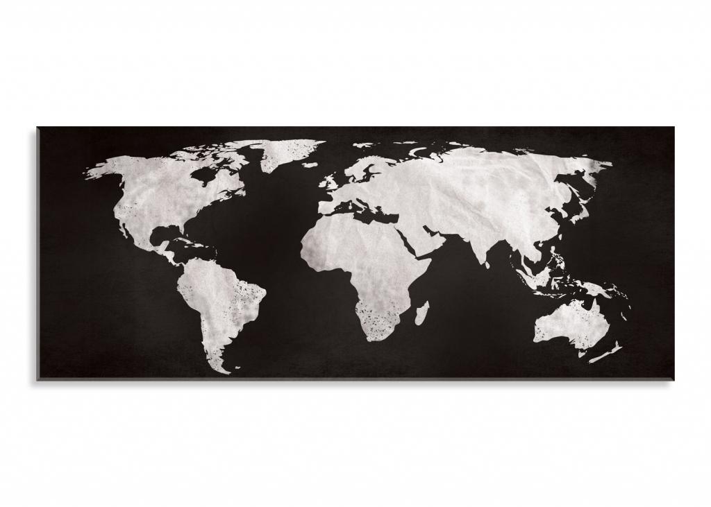 Obraz Černobílá mapa světa, 150x60 cm
