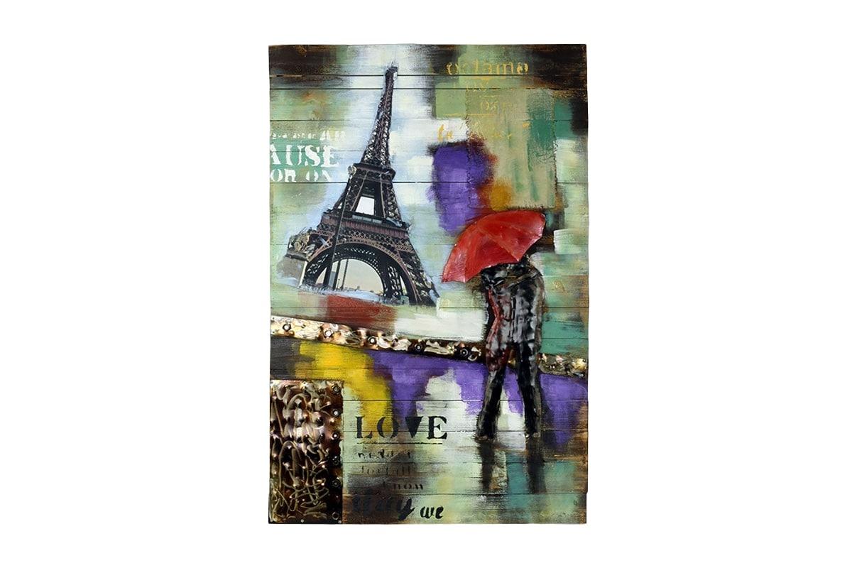 Obraz Eiffel Tower na dřevě, 120 cm