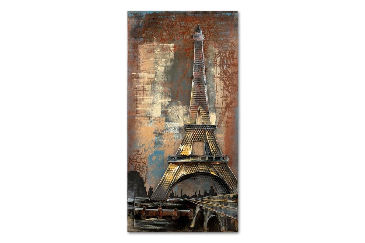 Obraz Eiffel Tower na kovu, 120 cm, olej na plátně
