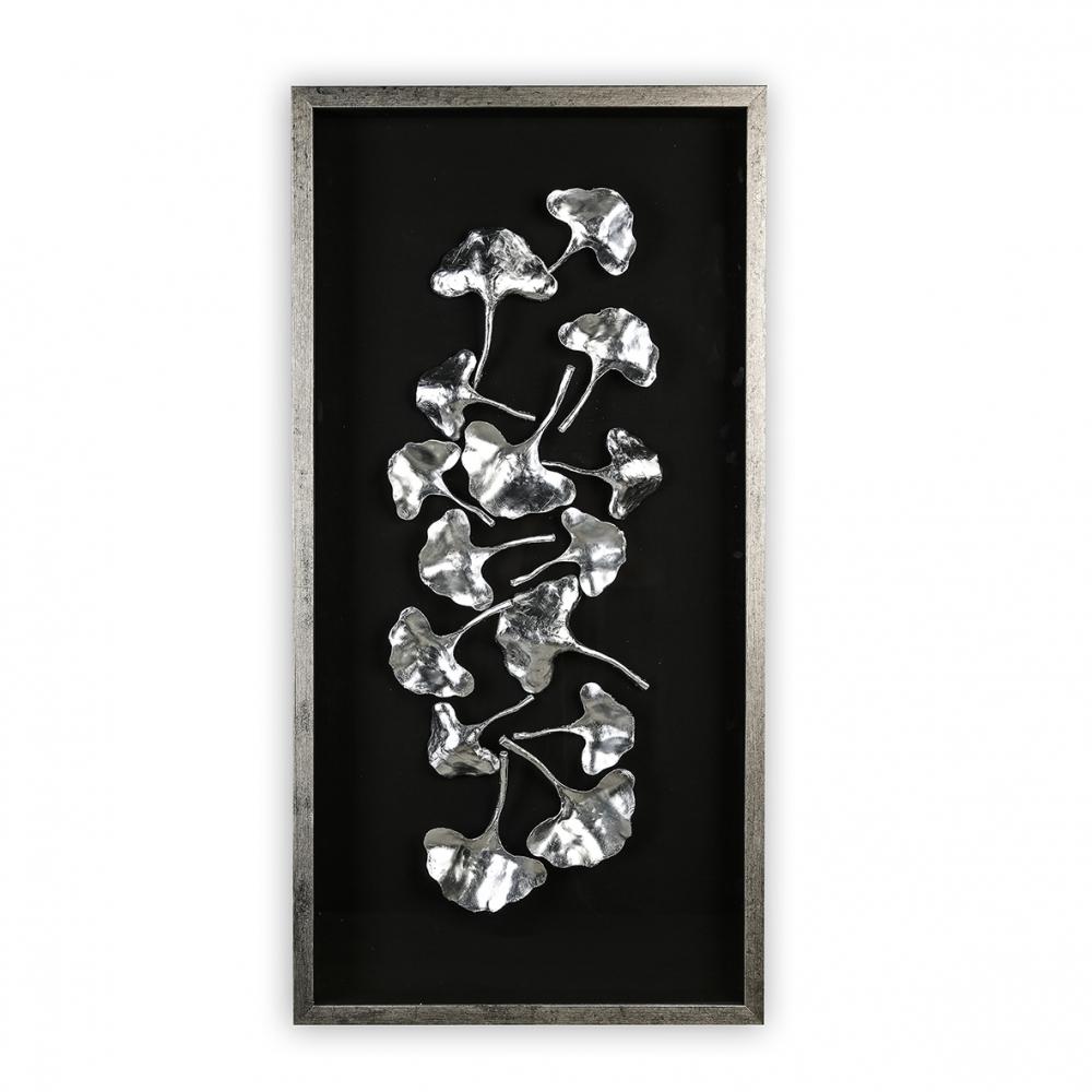 Obraz Gingko, 120 cm, černá / stříbrná