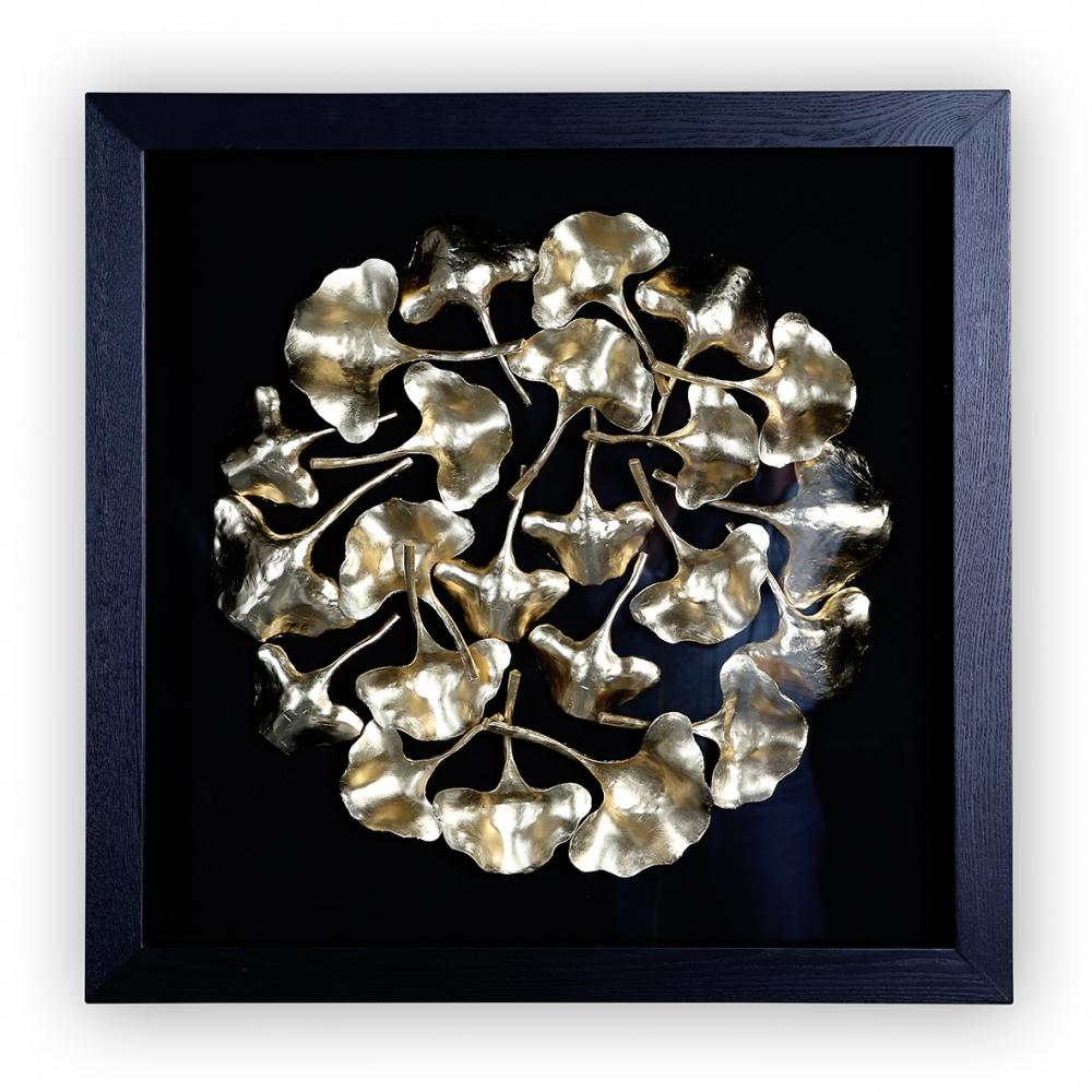 Obraz Gingko, 80 cm, černá / zlatá