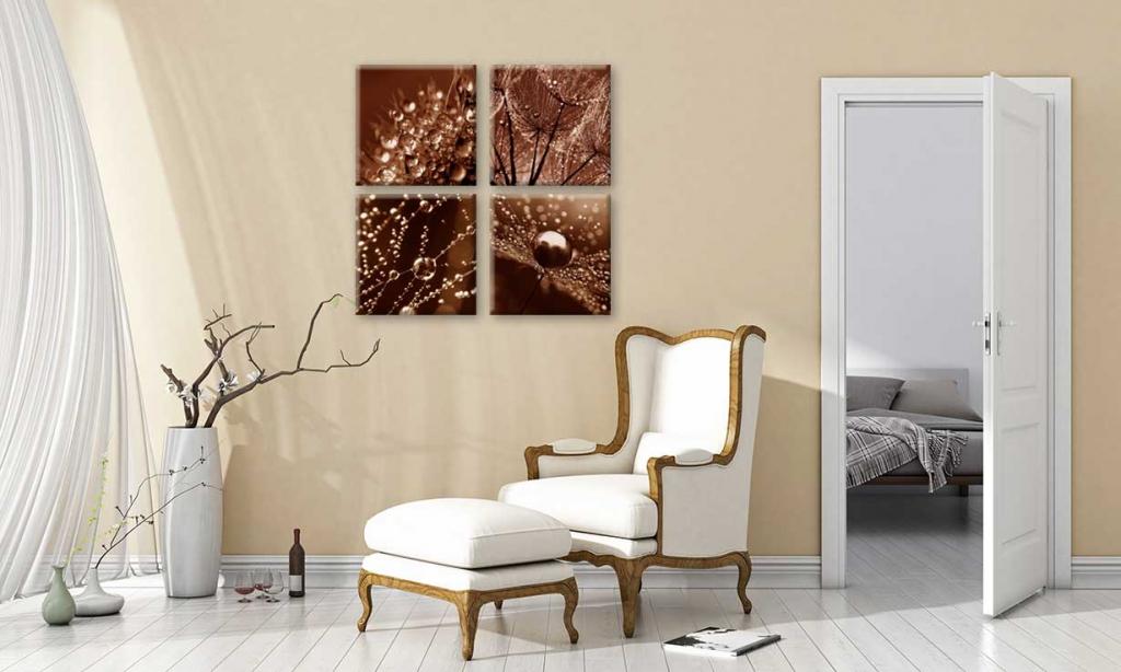 Obraz Jantarové kapky rosy, 80x80 cm