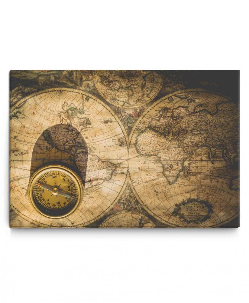 Obraz Kompas na mapě, 90x60 cm