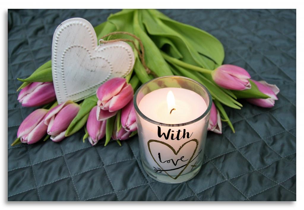 Obraz Květina se svíčkou, 75x50 cm