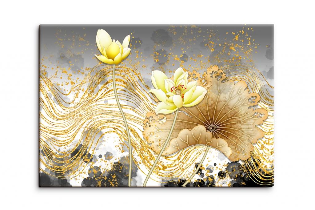 Obraz Květy ve zlatých tazích, 90x60 cm