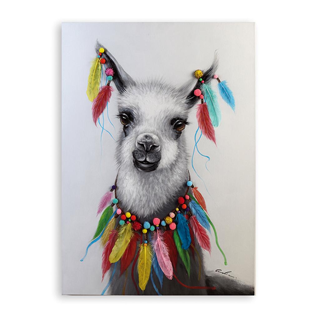 Obraz Lama 100 cm, olej na plátně