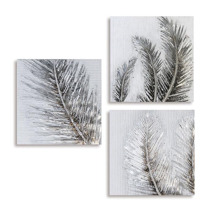 Obraz Leaves 60 cm, olej na plátně, sada 3 ks