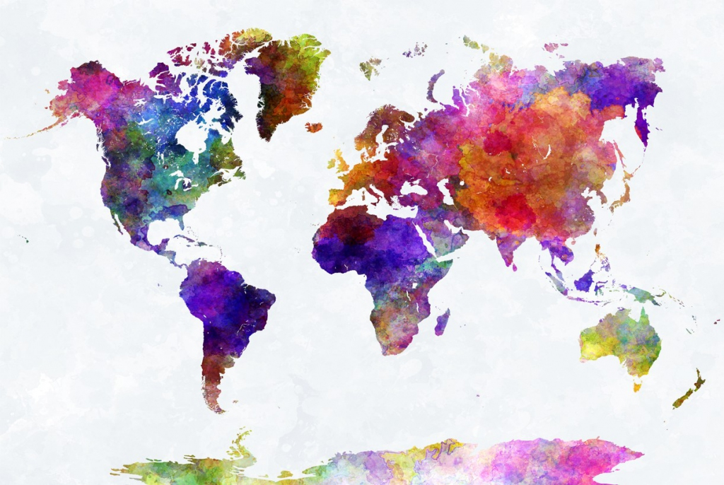 Obraz Mapa na akvarelu, 120x80 cm