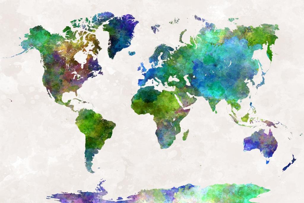 Obraz Mapa na akvarelu, 150x100 cm