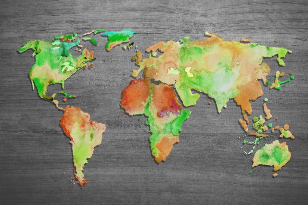 Obraz Mapa světa II, 120x80 cm