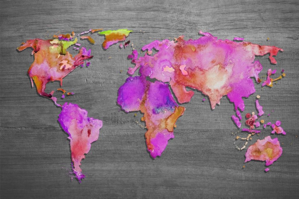 Obraz Mapa světa růžová, 150x100 cm